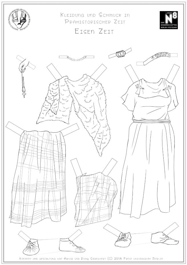 Ausmalbogen Frauenkleidung Eisenzeit